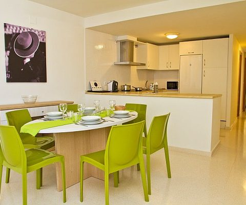 view of the kitchen and dining room in PV apartments in seville